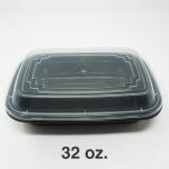 FH 32 oz. 长方形黑色塑料餐盒套装 - 150套/箱
