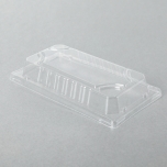 """0.6-L Rectangular Clear Plastic Sushi Tray Container Lid 6 3/8"""" X 3 1/2"""" X 1 1/8"""" - 1500/Case"""