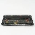 "001-B Rectangular Black Plastic Sushi Tray Container Base (Not Combo) 8 3/4"" X 3 3/4"" X 7/8"" - 1400/Case"