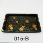 "015-B Rectangular Black Plastic Sushi Tray Container Base (Not Combo) 8 1/2"" X 5 1/4"" X 5/8"" - 1000/Case"