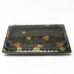 "020-B Rectangular Black Plastic Sushi Tray Container Base (Not Combo) 9 1/4"" X 5 3/4"" X 3/4"" - 800/Case"