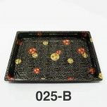 "025-B Rectangular Black Plastic Sushi Tray Container Base (Not Combo) 10 1/4"" X 7 3/8"" X 7/8"" - 504/Case"