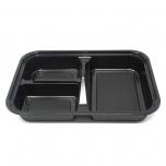 "303 Rectangular Black Plastic Bento Box Set 9 1/8"" X 6 3/8"" X 1 3/8"" - 270/Case"