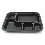"305 Rectangular Black Plastic Bento Box Set 9 3/8"" X 7 1/2"" X 1 3/8"" - 252/Case"
