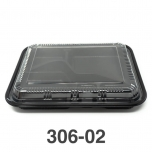 "306-02 Rectangular Black Plastic Bento Box Set #02 10 1/2"" X 8 1/8"" X 1 3/8"" - 200/Case"
