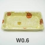 "W0.6 Rectangular White Plastic Sushi Tray Container Set 6 3/8"" X 3 1/2"" X 3/4"" - 480/Case"