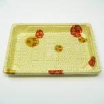 "W008 Rectangular White Plastic Sushi Tray Container Set 6 1/2"" X 4 1/2"" X 1 1/8"" - 440/Case"