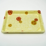 "W010 Rectangular White Plastic Sushi Tray Container Set 7 3/8"" X 5 1/8"" X 7/8"" - 360/Case"