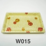 "W015 Rectangular White Plastic Sushi Tray Container Set 8 1/2"" X 5 1/4"" X 5/8"" - 300/Case"