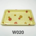 "W020 Rectangular White Plastic Sushi Tray Container Set 9 1/4"" X 5 3/4"" X 3/4"" - 240/Case"
