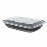 AHD 长方形黑色塑料餐盒套装 28 oz. (006) - 150套/箱