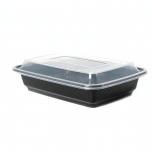 AHD 长方形黑色塑料餐盒套装 16 oz. (038) - 150套/箱