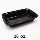 RT 长方形黑色塑料餐盒套装 28 oz. (868) - 150套/箱