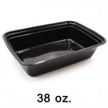 长方形黑色塑料餐盒套装 38 oz. (888) - 150套/箱