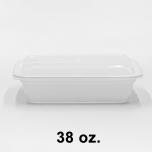 长方形白色塑料餐盒套装 38 oz. (888) - 150套/箱