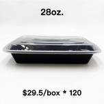 [Bulk 120 Cases] 28 oz. Rectangular Black Plastic Container Set (868) - 150/Case