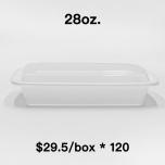 [Bulk 120 Cases] 28 oz. Rectangular White Plastic Container Set (868) - 150/Case