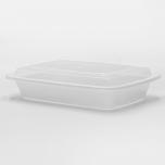 28 oz. 长方形白色塑料餐盒套装 (868) - 150套/箱