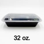 32 oz. 长方形黑色塑料餐盒套装 (878) - 150套/箱