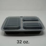 32 oz. 长方形黑色塑料三格餐盒套装 (333) - 150套/箱