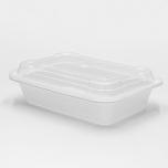 SR 16 oz. 长方形白色塑料餐盒套装 (8168) - 150套/箱