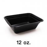 SR 12 oz. 长方形黑色塑料餐盒套装 (818) - 150套/箱