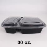 SR 30 oz. 长方形黑色塑料两格餐盒套装 (8288) - 150套/箱