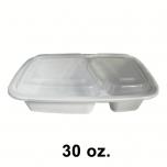 SR 30 oz. 长方形白色塑料两格餐盒套装 (8288) - 150套/箱