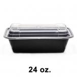 SR 24 oz. 长方形黑色塑料餐盒套装 (838) - 150套/箱