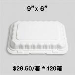 """[团购120箱] PP206 长方形白色塑料环保餐盒 9"""" X 6"""" - 150/箱"""