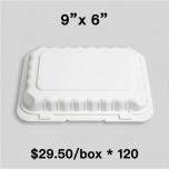 "[Bulk 120 Cases] PP206 Rectangular White Plastic Hinged Food Container 9"" X 6"" - 150/Case"