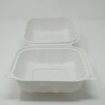 """Kari-Out 225A 正方形白色塑料环保餐盒 6"""" X 6"""" - 250/箱"""