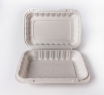 "Kari-Out 206 长方形白色塑料环保餐盒 9"" X 6"" - 150/箱"