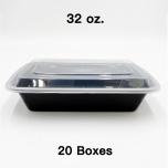 [Bulk 20 Cases] 32 oz. Rectangular Black Plastic Container Set (878) - 150/Case