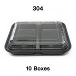 "[Bulk 10 Cases] 304 Rectangular Black Plastic Bento Box Set 9 3/8"" X 7 1/2"" X 1 3/8"" - 252/Case"