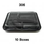 "[Bulk 10 Cases] 306 Rectangular Black Plastic Bento Box Set 10 1/2"" X 8 1/8"" X 1 3/8"" - 200/Case"