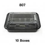 "[Bulk 10 Cases] 807 Rectangular Black Plastic Lunch Box Set 6 1/2"" X 4"" X 1 3/8"" - 550/Case"