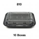 "[Bulk 10 Cases] 810 Rectangular Black Plastic Lunch Box Set 7 1/4"" X 5 1/8"" X 1 3/8"" - 500/Case"