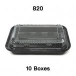 """[团购10箱] 820 长方形黑色塑料餐盒套装 8 3/8"""" X 5 3/4"""" X 1 3/8"""" - 400套/箱"""