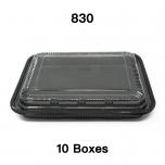 """[团购10箱] 830 长方形黑色塑料餐盒套装 10 1/2"""" X 7 7/8"""" X 1 3/8"""" - 200套/箱"""