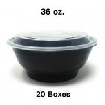 [Bulk 20 Cases] 36 oz. Round Black Plastic Container Set - 150 Set/Case