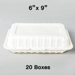 """[团购20箱] PP206 长方形白色塑料环保餐盒 9"""" X 6"""" - 150/箱"""
