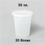 [Bulk 20 Cases] 32 oz. Round Clear Plastic Soup Container Set - 240 Set/Case