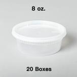 [团购20箱] 8 oz. 圆形透明塑料汤盒套装 - 240套/箱