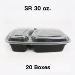 [团购20箱] SR 30 oz. 长方形黑色塑料两格餐盒套装 (8288) - 150套/箱