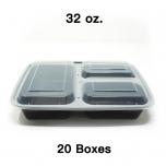 [团购20箱] 32 oz. 长方形黑色塑料三格餐盒套装 (333) - 150套/箱
