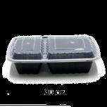 HT 30 oz. 长方形黑色塑料两格餐盒套装 (8288) - 150套/箱