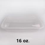AHD 长方形白色塑料餐盒套装 16 oz. (038) - 150套/箱