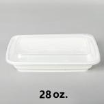AHD 长方形白色塑料餐盒套装 28 oz. (006) - 150套/箱