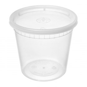 WY 圆形透明塑料汤盒套装 24 oz. - 240套/箱